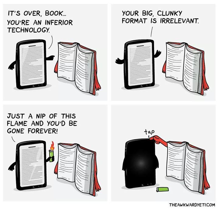 Ipad fighting with a Book, who wins?